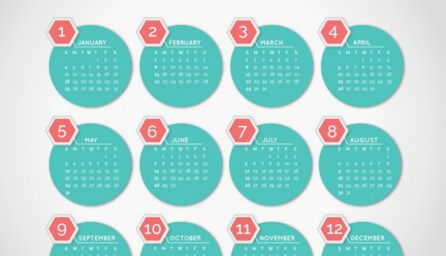 2015 Calendar with minimalist round shapes  Vector |   Download