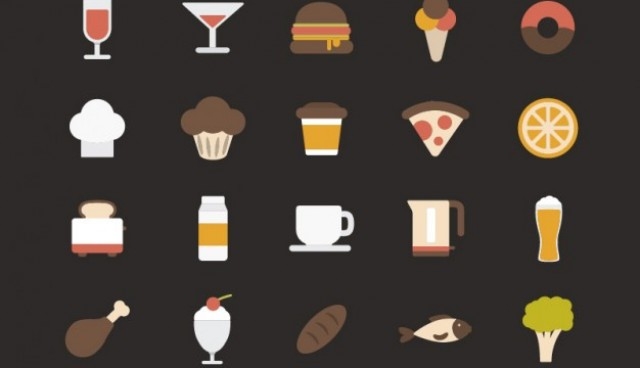 Colorful food icons  Vector |   Download