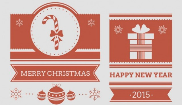 Vintage Christmas & New Year cards  Vector |   Download