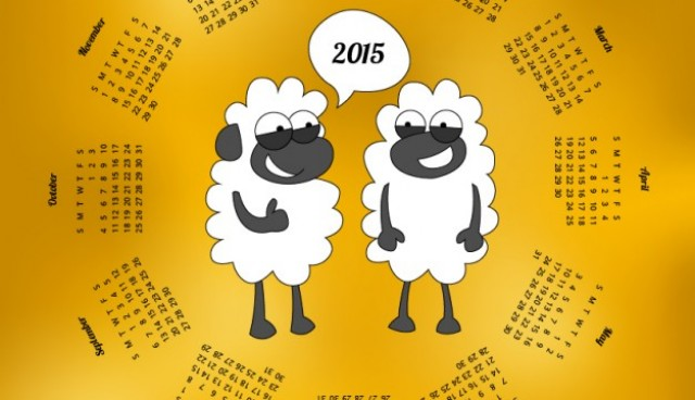 2015 Calendar with sheep cartoon  Vector |   Download
