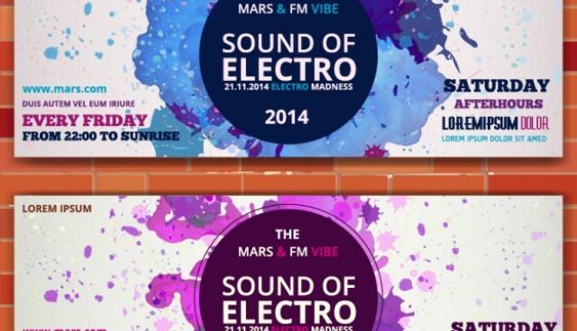 Mockup electro music banner ticket invitation  Vector |   Download