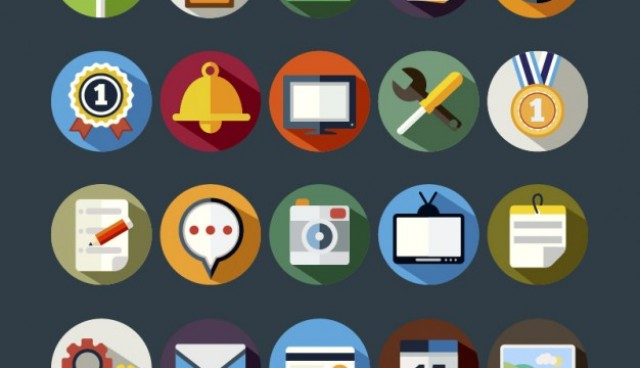 Colorful round icons pack  Vector     Download