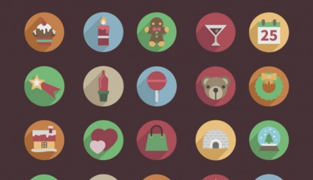 Round Christmas color icons  Vector |   Download