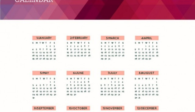 Polygonal 2015 calendar  Vector |   Download