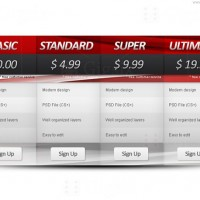 Automotive pricing table PSD template