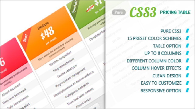 CSS3 Pricing Table HTML