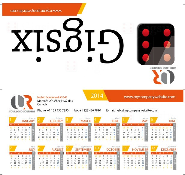 Printable Desk Calendar 2014-2015-2016